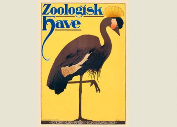 Copenhagen Zoo Crane Poster - Danish Vintage Modern