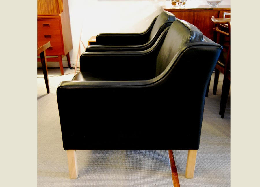 Sold Pair Of Danish Leather Easychairs Danish Vintage Modern