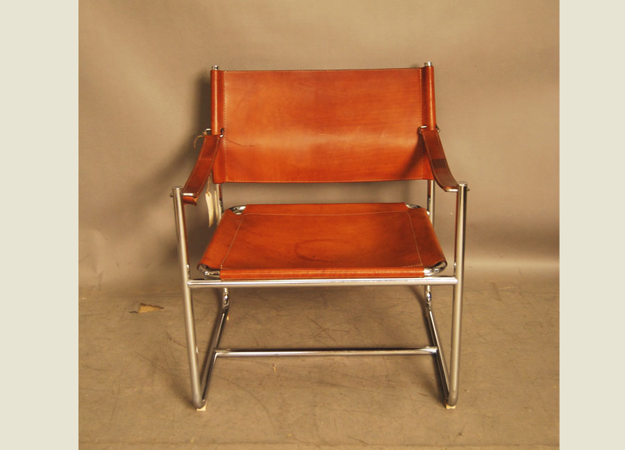 ... Chrome And Leather Sling Chair ...