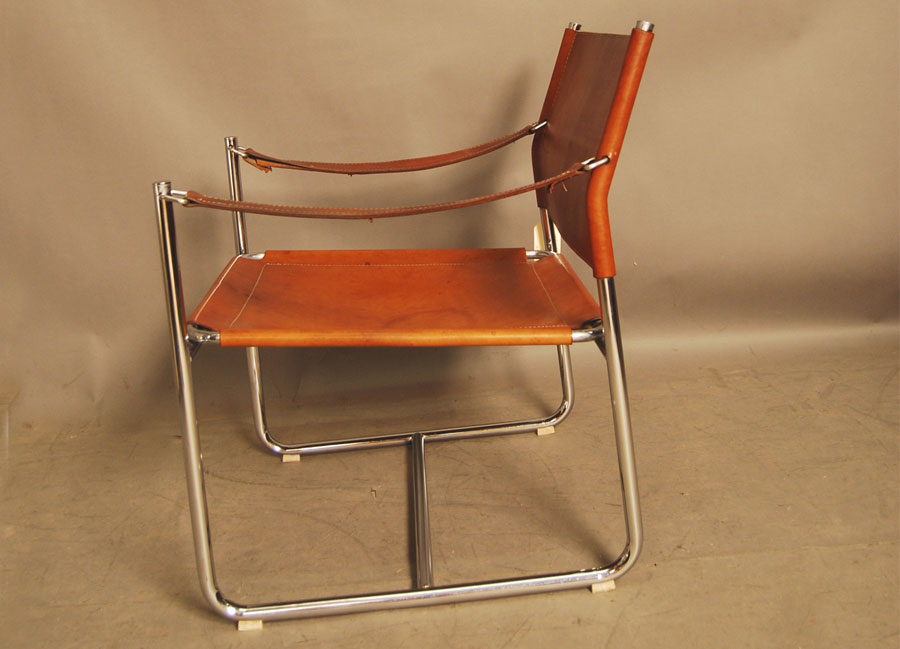 ... Chrome And Leather Sling Chair