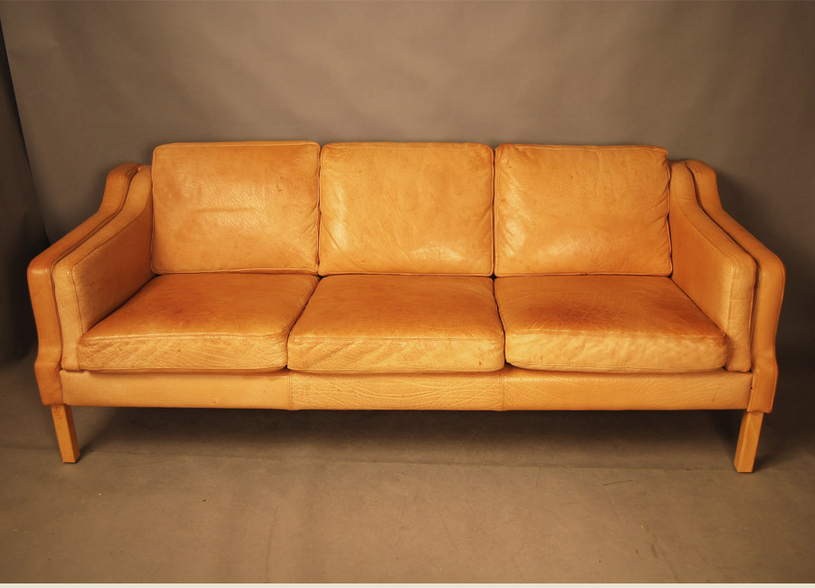 Sold Danish Tan Leather Sofa 28d049 Danish Vintage Modern