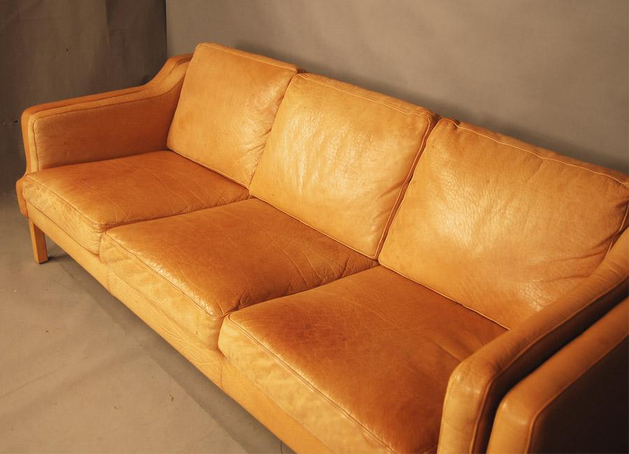 Sold Danish Tan Leather Sofa 28d049 Danish Vintage Modern