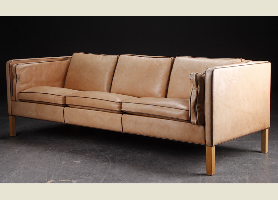 ... Danish Tan Leather Sofa