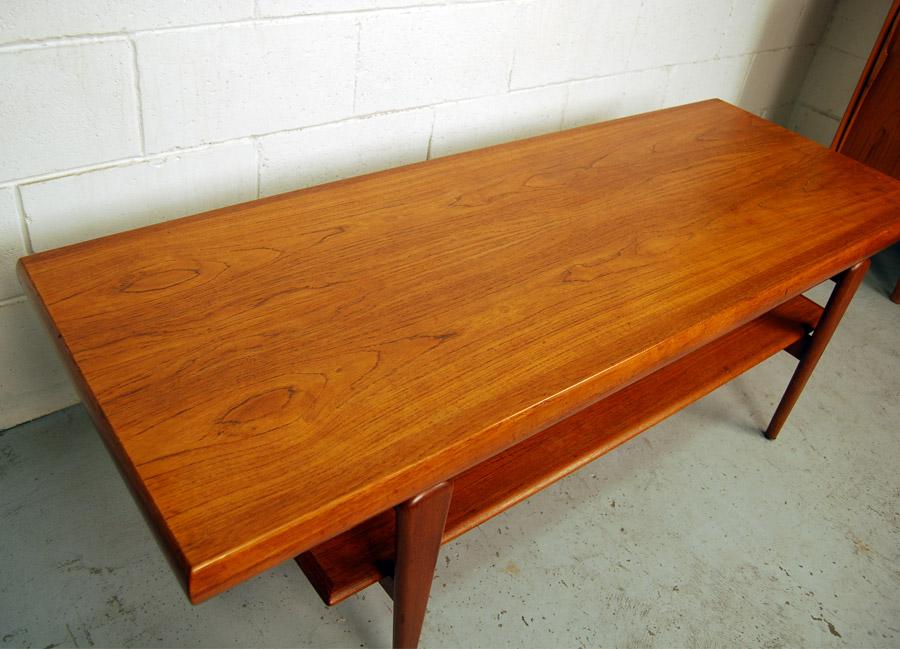 Sold Danish Teak Coffee Table With Shelf 31d077 Danish Vintage Modern