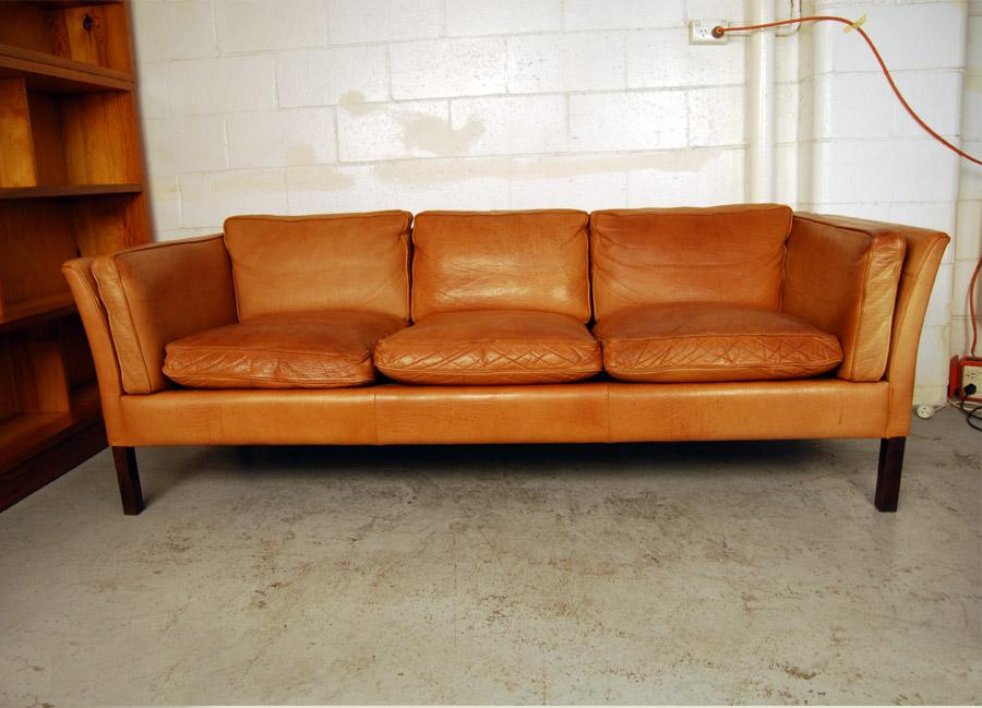... Danish Three Seat Leather Sofa ...
