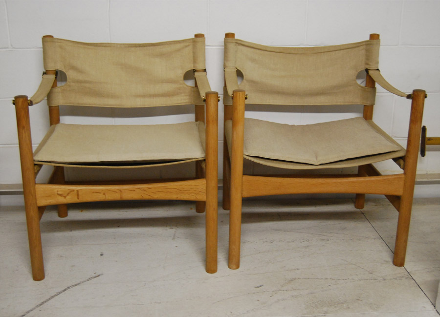 ... Four Borge Mogensen Oak And Canvas Chairs ...