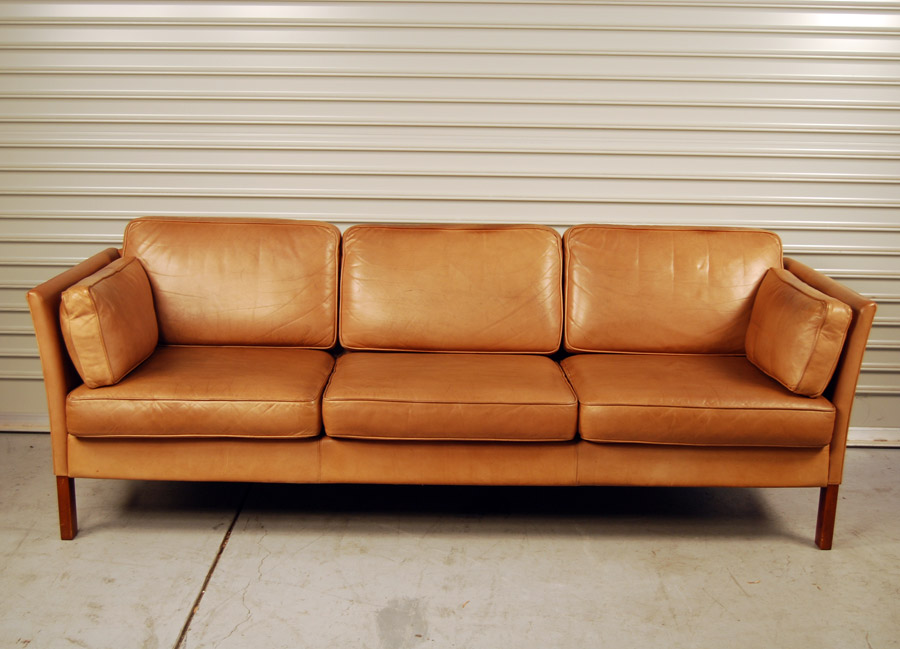 Sold Erik Jorgensen Tan Leather Sofa 30d024 Danish Vintage Modern