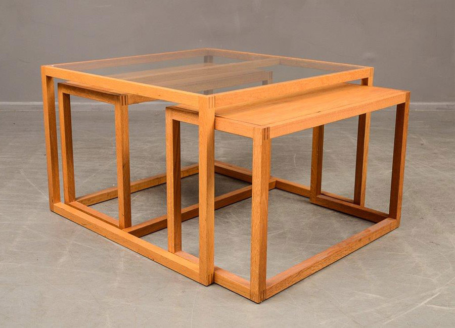 Sold danish glass top coffee table with two nesting tables for Glass top nesting tables