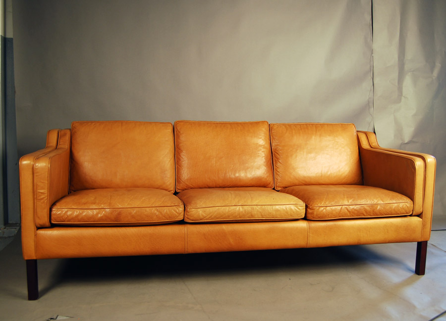 SOLD Stouby tan leather sofa 33D076 - Danish Vintage Modern