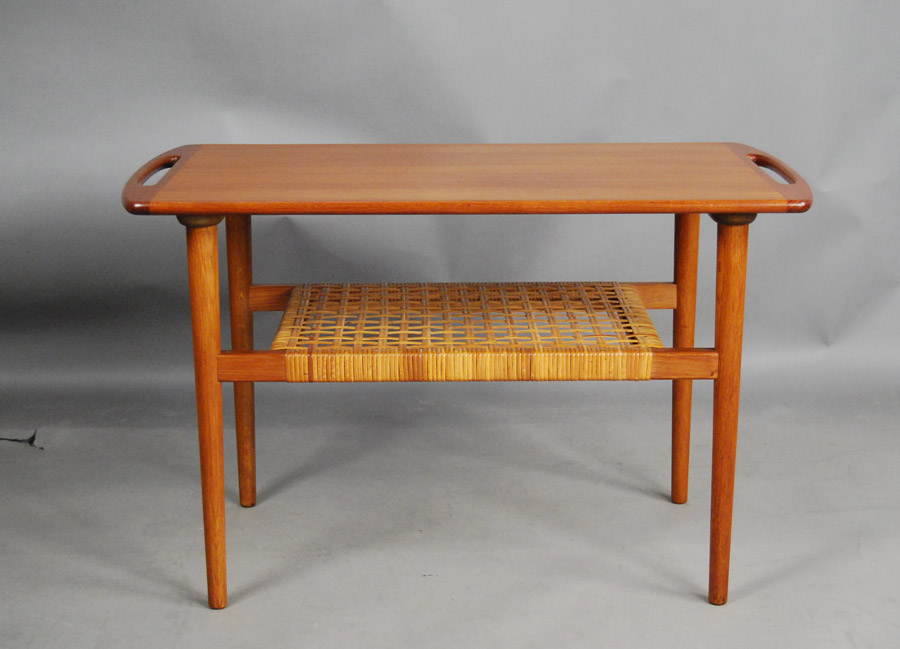 Delightful ... Danish Side Table With Cane Shelf ...