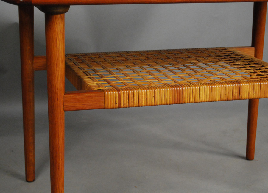 ... Danish Side Table With Cane Shelf