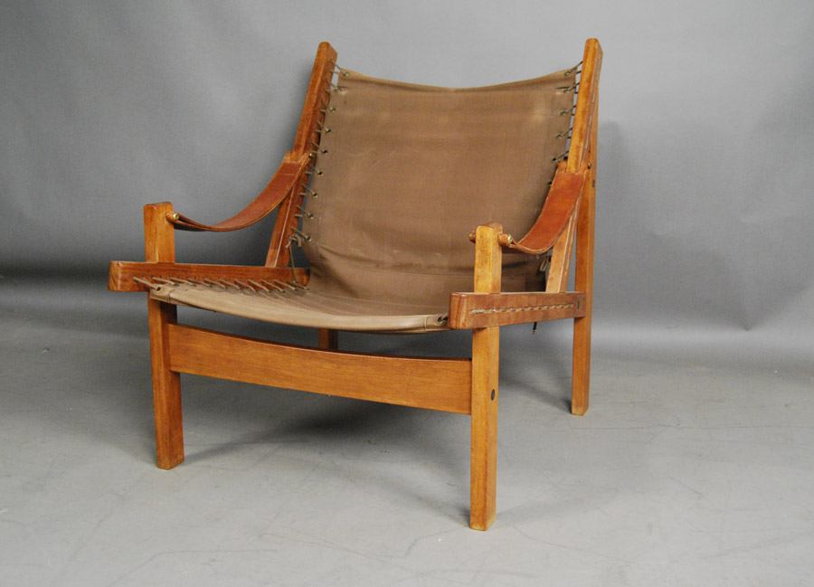 Charmant ... Danish Teak And Canvas Chair ...