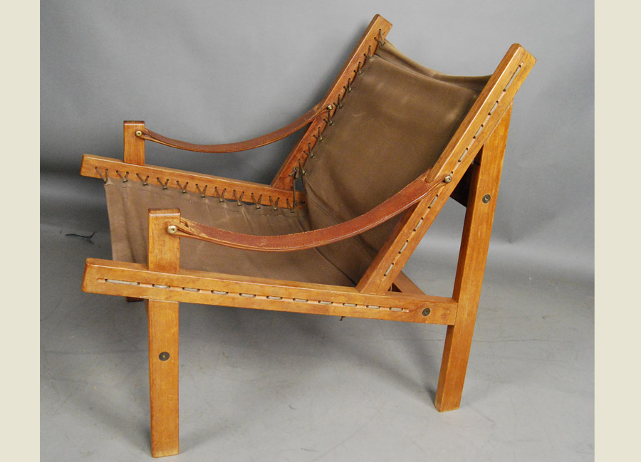 Merveilleux ... Danish Teak And Canvas Chair